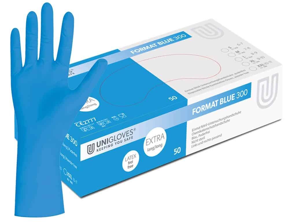 nitrilové rukavice modré format blue 300 prodloužené v modrobílé krabičce od značky unigloves