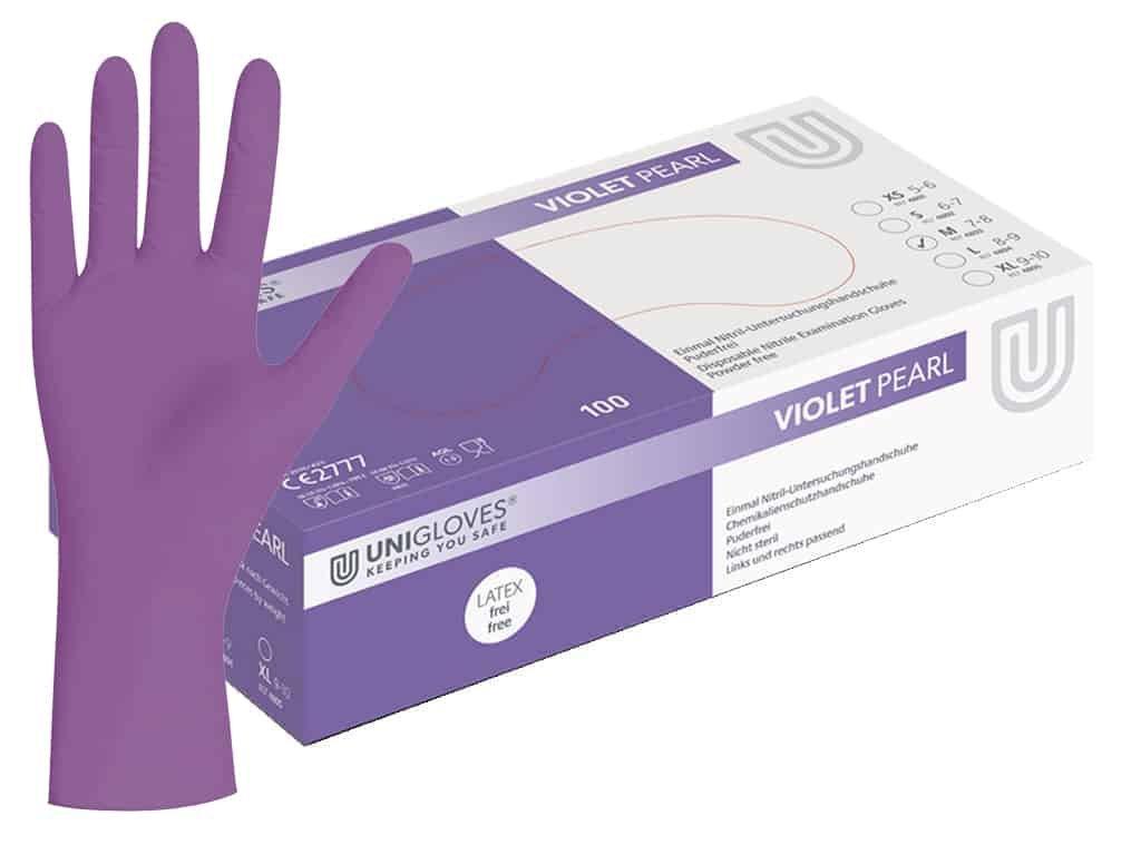 nitrilové rukavice fialové violet pearl v bílofialové krabičce od značky unigloves