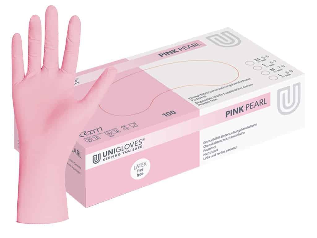 nitrilové rukavice světle růžové pink pearl v růžovobílé krabičce od značky unigloves