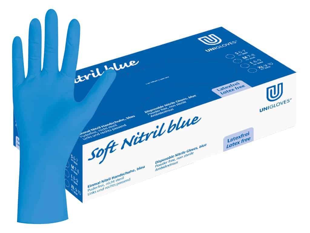 nitrilové rukavice modré soft nitril blue v modrobílé krabičce od značkyunigloves