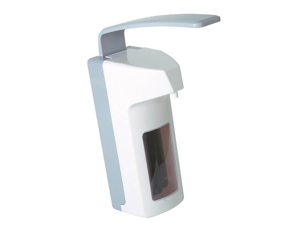 bílý plastový univerzální pákový dávkovač na dezinfekci a mýdlo