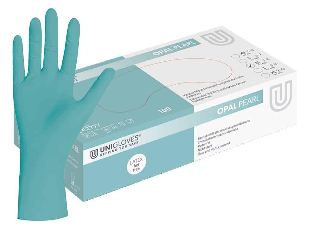nitrilové rukavice tyrkysové opal pearl v tyrkysovobílé krabičce od značky unigloves