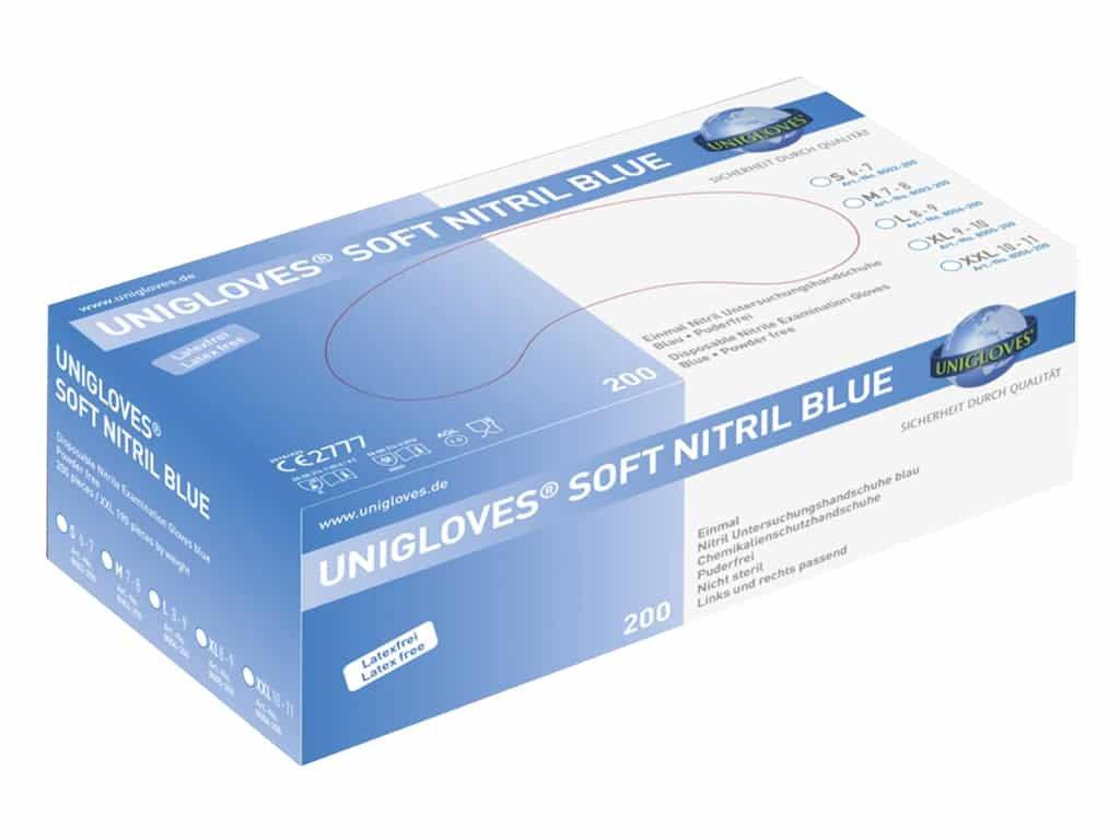 unigloves soft nitril blue 200. Jednorázové a vyšetřovací nitrilové rukavice  ... 605f493d7d