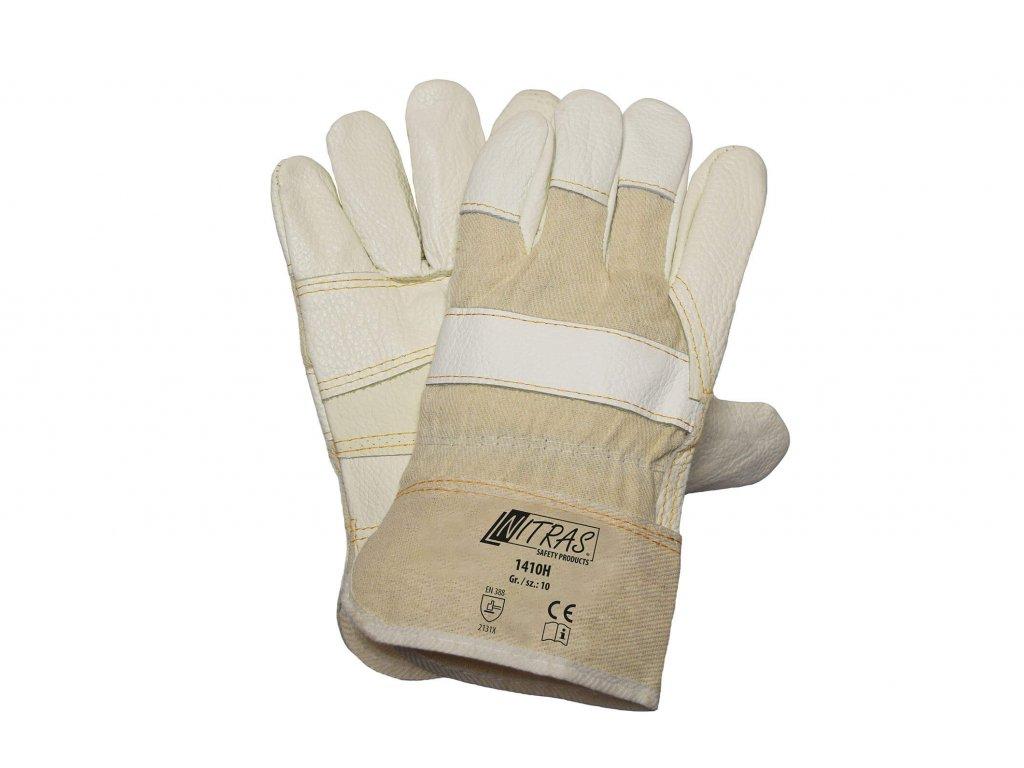 kombinované pracovní rukavice mercedes 1410H v krémové barvě