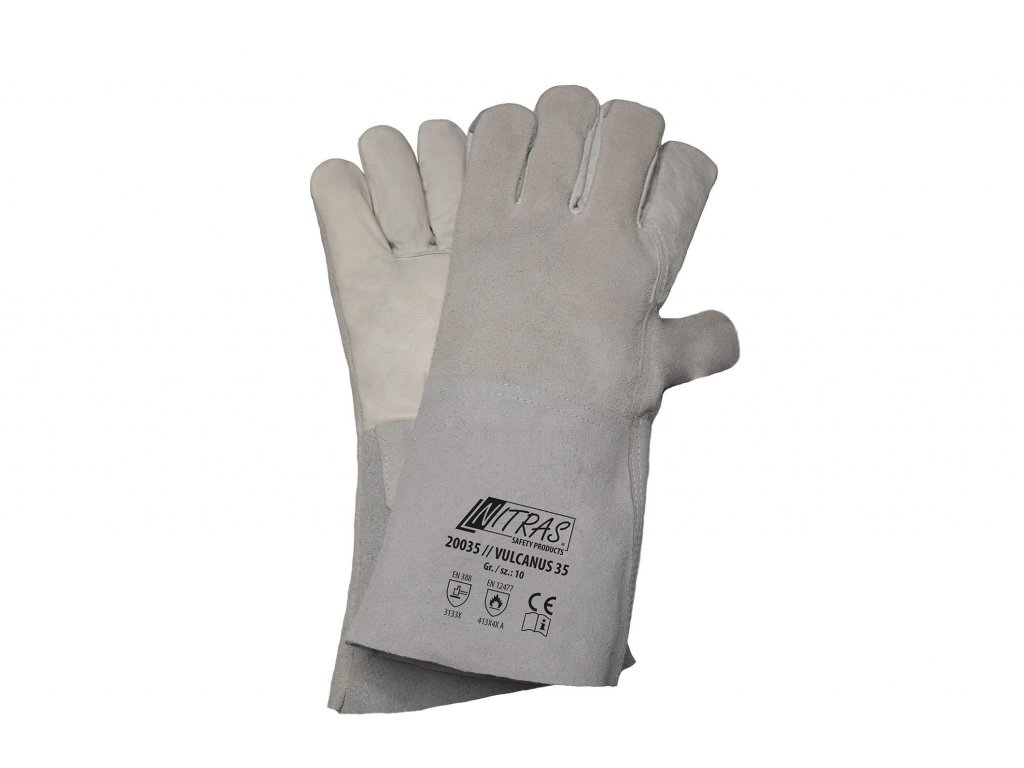 svářečské rukavice 5 prstů nitras 20035 v bílé barvě