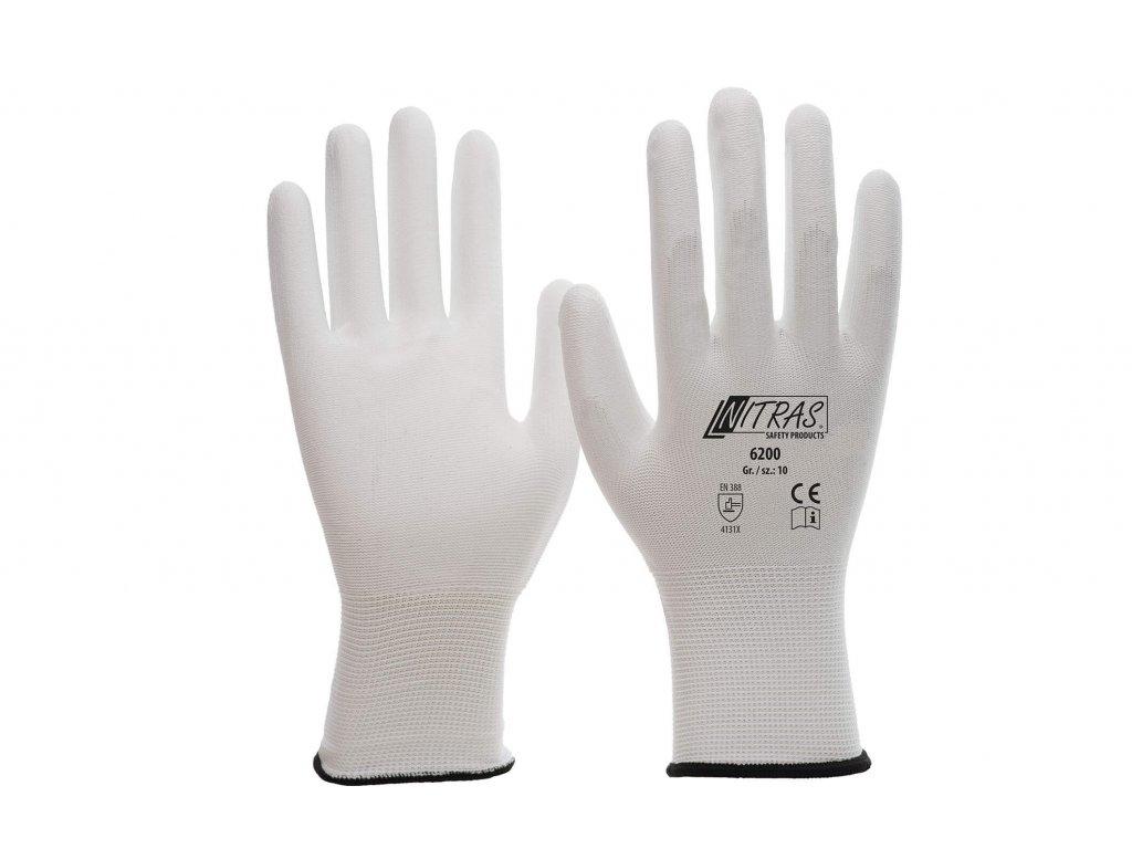Pletené nylonové rukavice nitras 6200 v bílé barvě