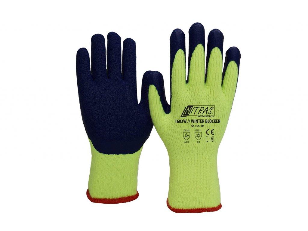 zimní pracovní rukavice nitras 1603W v modrožluté barvě