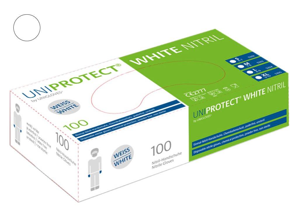uniprotect nitrilove rukavice bile