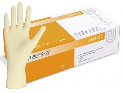 bílé latexové rukavice safetec bez pudru v oranžovobílé krabičce od značky unigloves