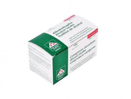 Dezinfekční sterilní tampony na kůži a pokožku v bílo-zelené krabičce