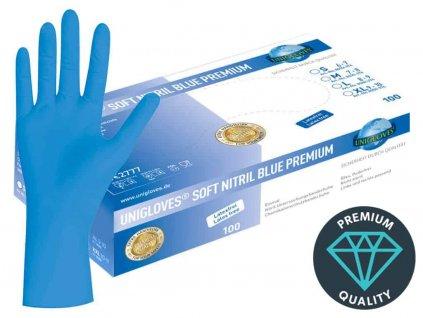 nitrilové rukavice modré soft nitril blue premiumv modrobílé krabičce od značky unigloves