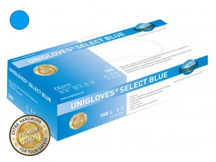 modré latexové rukavice select blue v modrobílé krabičce od značky unigloves