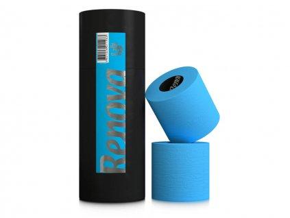 modrý toaletní papír v dárkové designové tubě 3 role