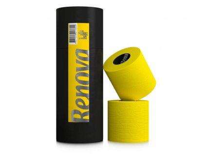 žlutý toaletní papír v dárkové designové tubě 3 role