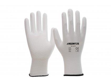 Agent25 bílé nylonové rukavice s PU vrstvou