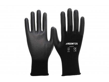 Agent25 Nylonové rukavice s PU vrstvou černé