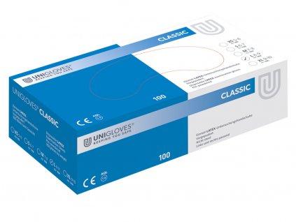 bílé latexové rukavice pudrované v zelenobílé krabičce od značky unigloves