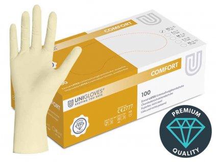 bílé latexové rukavice comfort bez pudru v červenobílé krabičce od značky unigloves