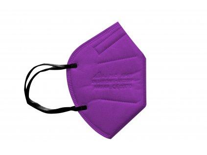 fialový respirátor FFP2 s gumičkou za uši