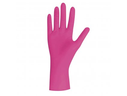nitrilové rukavice tmavě růžové magenta pearl v růžověbílé krabičce od značky unigloves