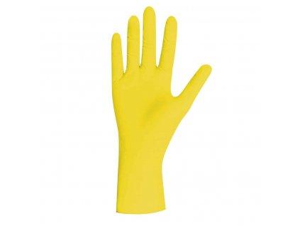 nitrilové rukavice žluté yellow pearl v žlutobílé krabičce od značky unigloves
