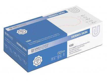 bílé latexové rukavice derma skin bez pudru v zelenobílé krabičce od značky unigloves