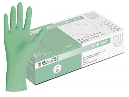 nitrilové rukavice mentolové mint pear v mentolovobílé krabičcce od značkyl unigloves