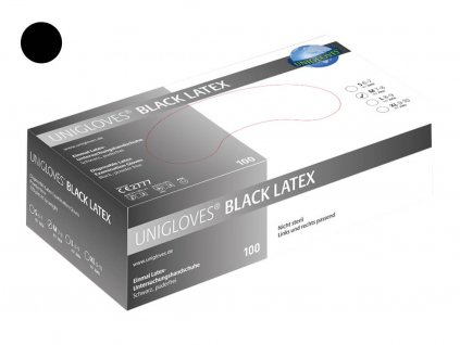 černé latexové rukavice black latex v černobílé krabičce od značky unigloves