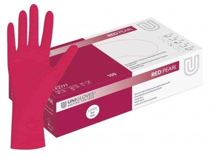 nitrilové rukavice červené red pearl v červenobílé krabičce od značky unigloves