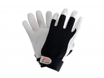 rukavice pro mechaniky z nappa kůže DEXTER 8905 v bíločerné barvě