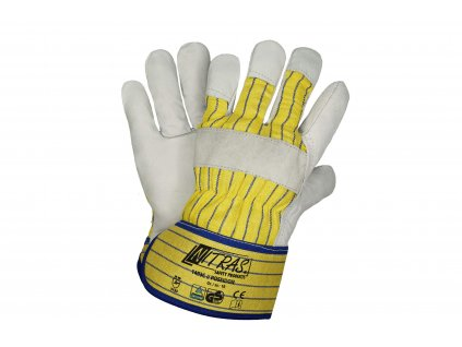 kožené kombinované pracovní rukavice poseidon 1403C v žlutobílé barvě