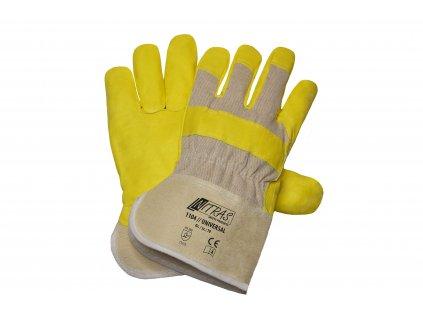 kombinované pracovní rukavice universal 1104 v žlutokrémový barvě