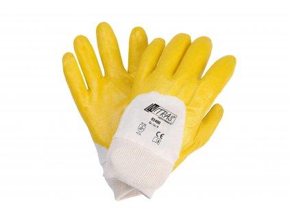 žlutobílé bavlněné rukavice máčené v nitrilu nitras 03400