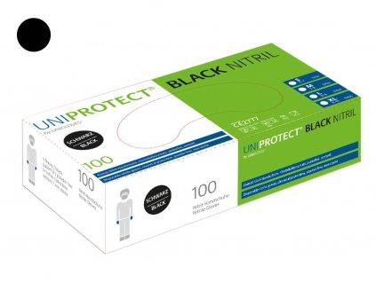 nitrilové rukavice černé uniprotect v bílozelené krabičce od značkyod značky unigloves