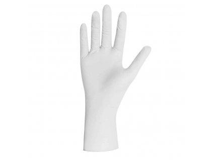 bílé latexové rukavice select plus bez pudru v bílofialové krabičce od značky unigloves