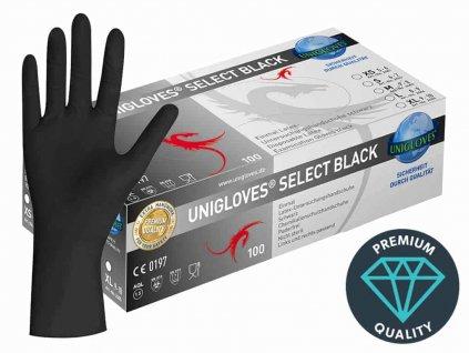 černé latexové rukavice bez pudru select black v černobílé krabičce od značky unigloves