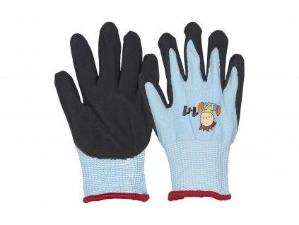 černomodré dětské pracovní rukavice s obrázky