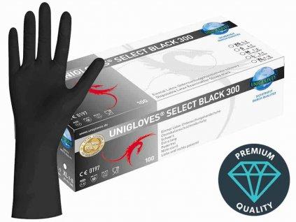 černé latexové rukavice select black 300 prodloužené v černobílé krabičce od značky unigloves