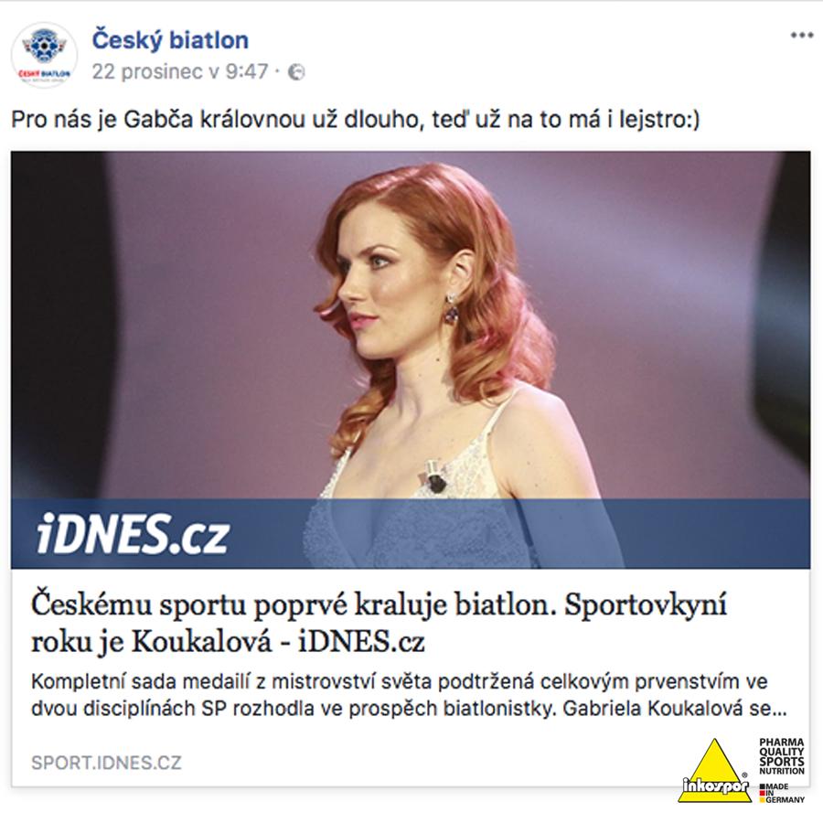 A sportovkyní roku je Gabriela Koukalova!