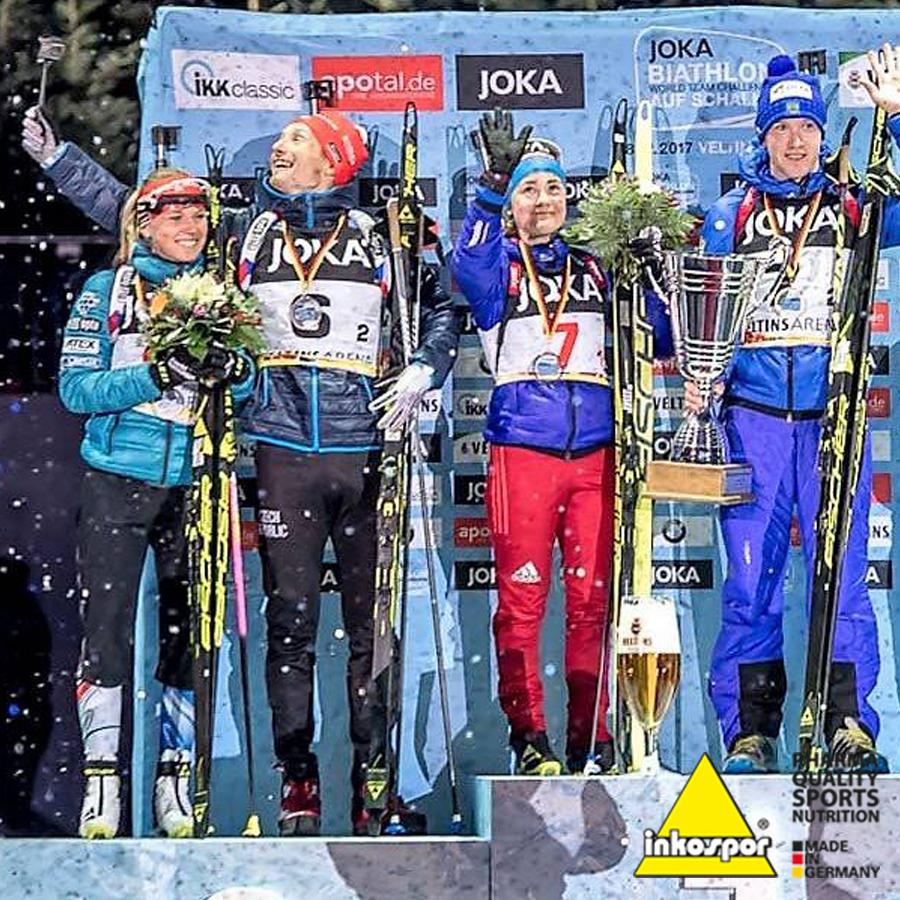 Eva Puskarčíková a Ondřej Moravec vybojovali druhé místo na Biathlon auf Schalke