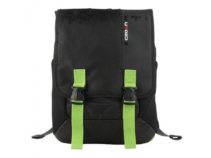 """Batoh na notebook 15,6"""", černý se zelenými prvky z nylonu, NB006, Crown"""