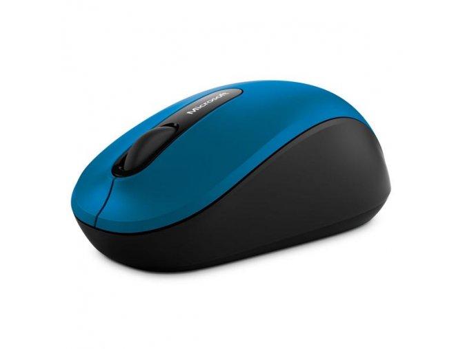 Microsoft Myš Bluetooth Mobile Mouse 3600, 1000DPI, Bluetooth, optická, 3tl., 1 kolečko, bezdrátová, modrá, 1 ks AA, klasická, Blu