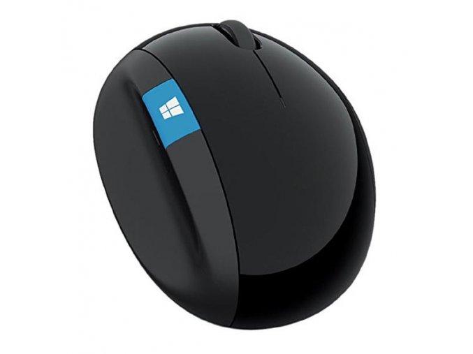 Microsoft Myš Sculpt Ergonomic Mouse, 1000DPI, 2.4 [GHz], laserová, 7tl., 1 kolečko, bezdrátová, černá, 2 ks AA, klasická, Microso