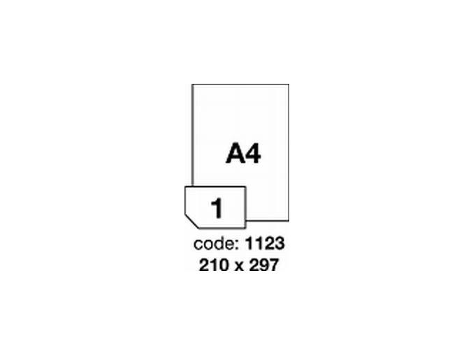 Etiketa R0119 210x297 A4 bílá lesklá LASER - 1LIST - DOPRODEJ!!