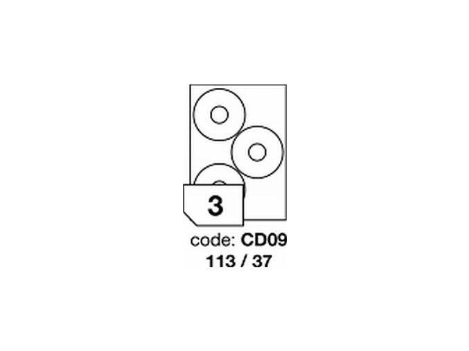 Etiketa CD09 - 113x37 mm inkjet/laser/copy Office - 1LIST - DOPRODEJ!!