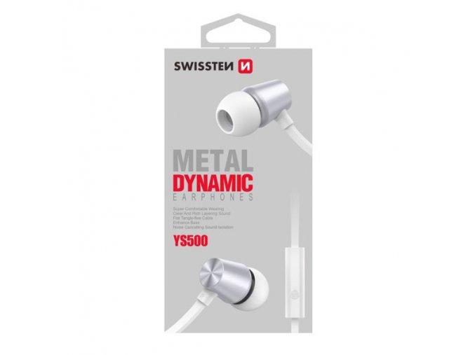 SWISSTEN YS500, sluchátka s mikrofonem, bez ovládání hlasitosti, bílá, špuntová typ 3.5 mm jack