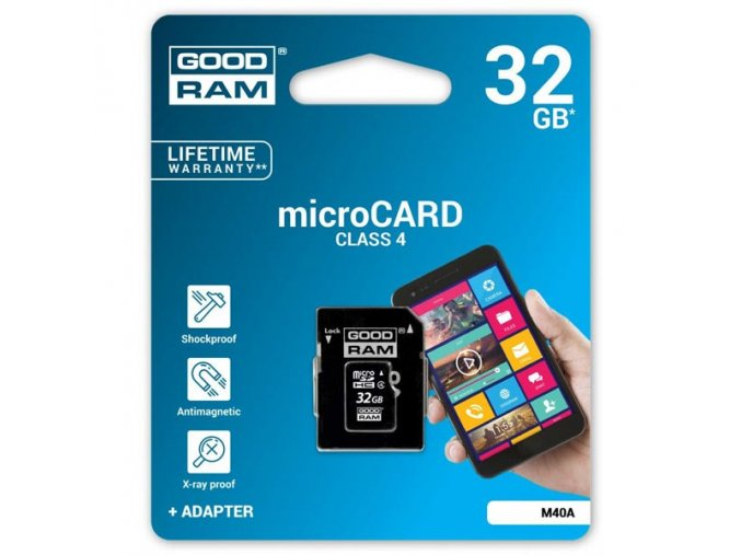 Goodram Micro Secure Digital Card, 32GB, micro SDHC, M40A-0320R11, Class 4, s adaptérem