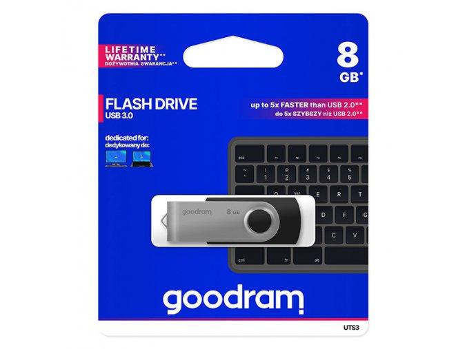 Goodram USB flash disk, USB 3.0 (3.2 Gen 1), 8GB, UTS3, černý, UTS3-0080K0R11, USB A, s otočnou krytkou