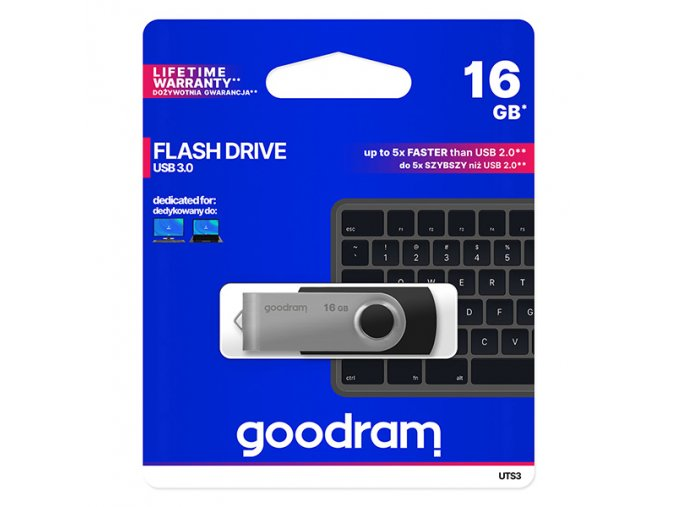 Goodram USB flash disk, USB 3.0 (3.2 Gen 1), 16GB, UTS3, černý, UTS3-0160K0R11, USB A, s otočnou krytkou