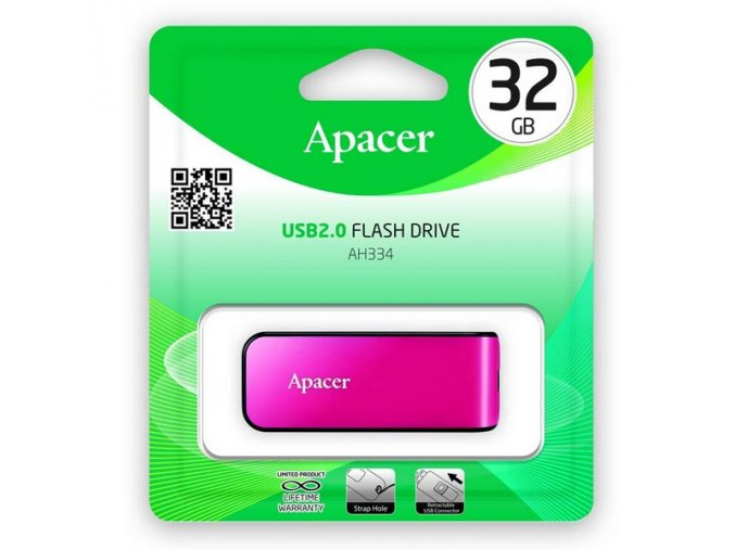 Apacer USB flash disk, USB 2.0, 32GB, AH334, růžový, AP32GAH334P-1, USB A, s výsuvným konektorem